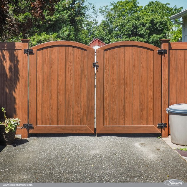 pvc vinyl wood grain rosewood double drive gates dual leafs from illusions fence