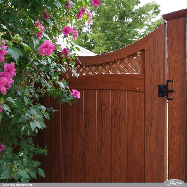 pvc vinyl wood grain accent gate in rosewood from illusions fence