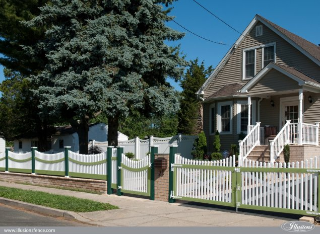 green and white pvc vinyl gates and scalloped picket fence from illusions fence
