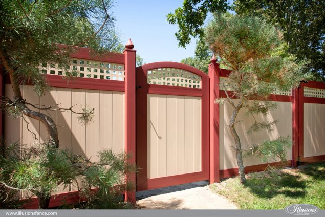 pvc vinyl red and tan accent walk gate from illusions fence