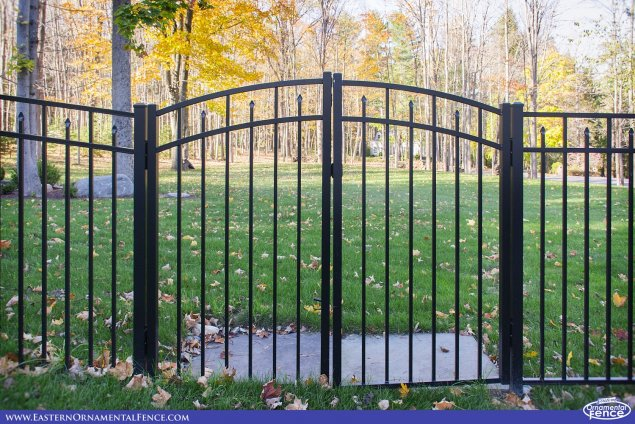 eastern ornamental aluminum fence accent gates shown in black