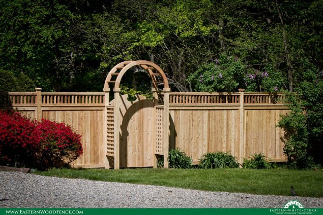 real wood accent gate and arbor from eastern white cedar brand wood fence
