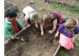 playing in garden dirt