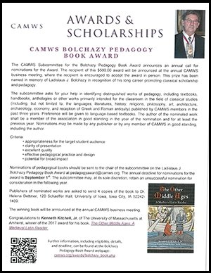 CAMWS Bolchazy Pedagogy Book Award 2017