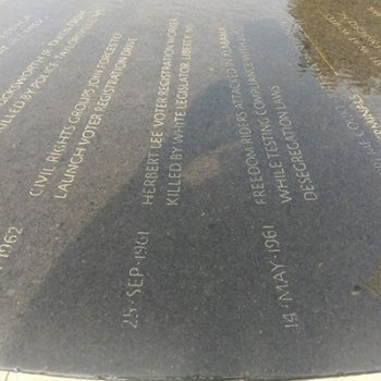 plaque of the names of 41 victims and significant civil rights events
