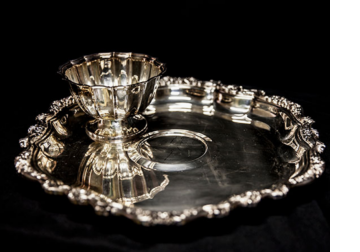 Antique silver serving tray and dish available at the WNCAP Raise Your Hand Auction & Gala