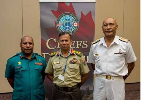 Three DKI APCSS alumni were present at the recent 2017 Chiefs of Defense (CHOD) conference held in  Victoria, BC, Canada. Attending were: Papua New Guinea Chief of Defense Brig. Gen. Gilbert Toropo  (EC03-3); Bangladesh CHOD representative Lt. Gen. Mohammed Mahfuzur Rahman (TSC11-2); and Fiji CHOD Rear Admiral Viliame Naupoto (EC02-3). The annual conference was hosted by U.S. Pacific Command and the Canadian Armed Forces. The CHOD conference brings together military  leaders to discuss regional and global challenges and to promote multilateral cooperation in the  Indo- Asia-Pacific.