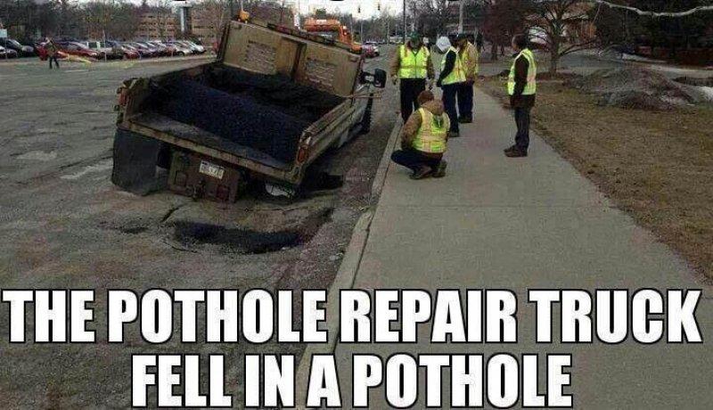 Pothole Trunck in a hole
