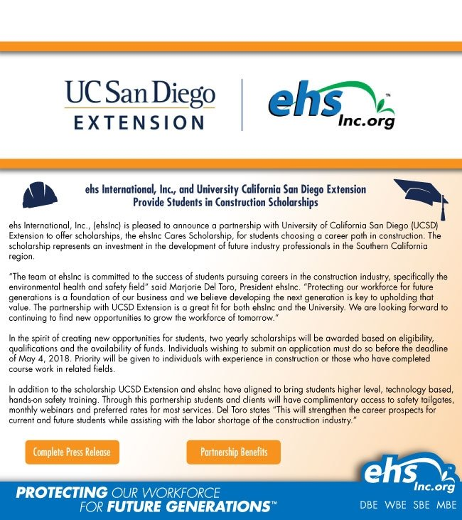 ehsInc & UC San Diego Extension Provide Students in Construction