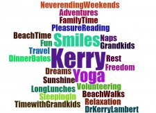 Word cloud of best wishes for Kerry Lambert