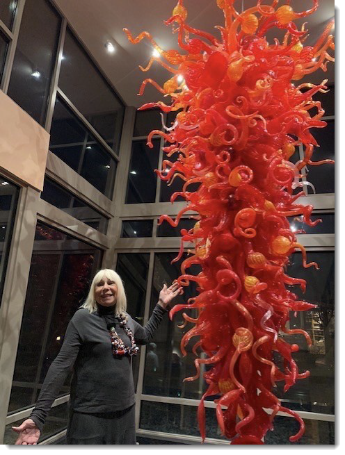 Leslie and Chihuly chandelier