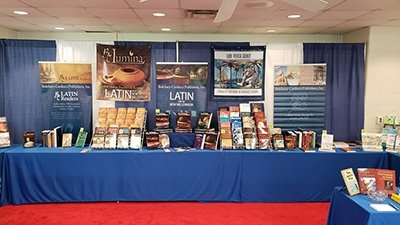 Photo of Bolchazy-Carducci Publishers book display at Medieval Congress in Kalamazoo, MI